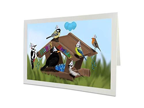 jz.birds Vogelmotiv Geburtstagskarte Glückwunschkarte zum Geburtstag Party im Vogelfutterhaus Grußkarte mit Umschlag