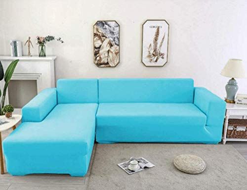 ZZZXX Elastischer Sofabezug 3 Sitzer Sofa-Überwürfe Sofahusse Couchhusse Spannbezug Für Sofa Mit Armlehne Jacquard Hoher Stretch Stretch Sessel Bezug Polyester,Blau