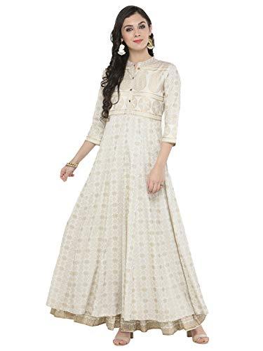 HIRAL DESIGNER Women Kurta Indian Kurtis Dresses for Women Casual Anarkali Kurti Long Dress (34, Off-White)