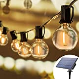 Joomer Solar Outdoor Lichterketten 25FT mit 25 PCS G40 LED-Lampen Wasserdichte kommerzielle Haengelampen 4 Modi Warmweisses dekoratives Licht fuer Patio Party Wedding Street Yard (E12 Sockel)