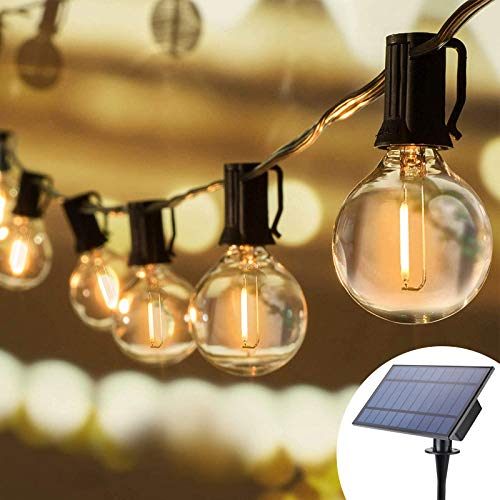 Solar String Lights Outdoor, 32Ft 25 Sockets G40 Hanging Solar Lights,Patio String Lights Commercial Grade, Waterproof for Patio, Yard, Gazebo, Porch, Cafe, Bistro, Outdoors