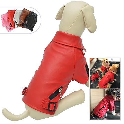 lovelonglong Cool Dog Lederjacke, Warmer Mantel, Hunde, Winddicht, kaltes Wetter, für große, mittelgroße und kleine Hunde, Schwarz/Braun/Rot, XXL, rot