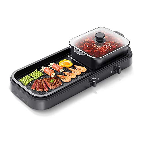 41QKTKqFQ5L - KOIUJ Multi-Funktions-Grill Bratpfanne Dual Purpose Barbecue Hot Pot EIN Pot Elektro Hot Pot Elektro-Backen-Wannen-Rinse-Wannen-Koch Pan Grilled Pan-Schwarz