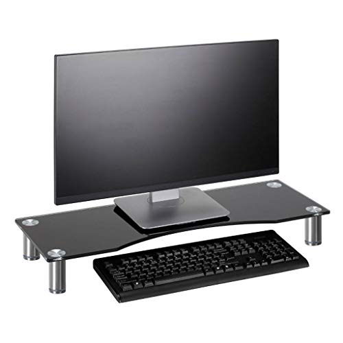 Height Adjustable Tempered Glass Monitor Riser Stand, Ergonomic Laptop Printer Stand with Cable Management, Ideal for Home Office Storage