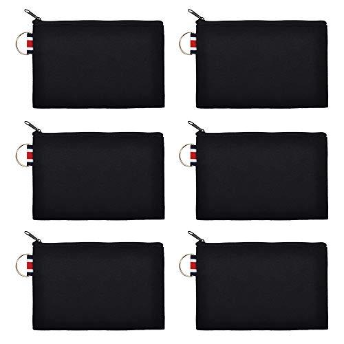 Aspire 6 Pièces Trousse de Maquillage de trousse coton, sacs en toile porte-monnaie, Trousses de Toilette pochette en toile fermeture à glissière pochette de bricolage noire