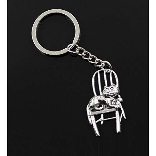 GEYKY Mode Männer 30Mm Schlüsselbund DIY Metallhalter Kette Vintage Lazy Cat Liegt Im Stuhl 40X23Mm Silber Farbe Anhänger Geschenk