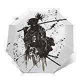 TISAGUER Paraguas automático de Apertura/Cierre,Pintura de la Acuarela de la Tinta del chapoteo del Arte Moderno,Samurai japonés Antiguo de la Espada,Paraguas pequeño Plegable a Prueba de Viento