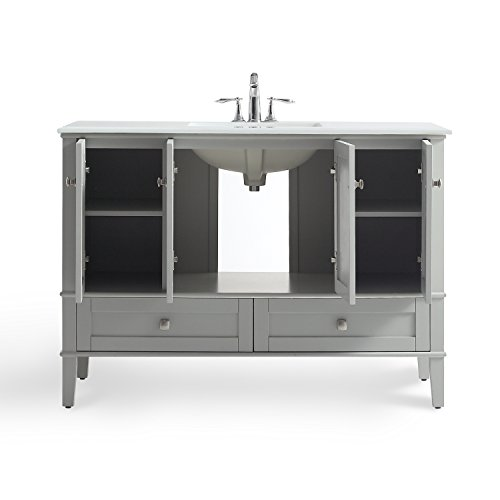 Simpli Home HHV029GR-48 Chelsea 48 inch Bath Vanity in Warm Grey with White Engineered Quartz Marble Top