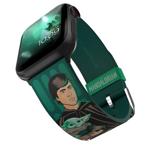 MobyFox The Mandalorian - Correa de reloj inteligente Luke and Grogu Edición con licencia oficial, compatible con Apple Ver (no incluido) Se adapta a 38 mm, 40 mm, 42 mm y 44 mm
