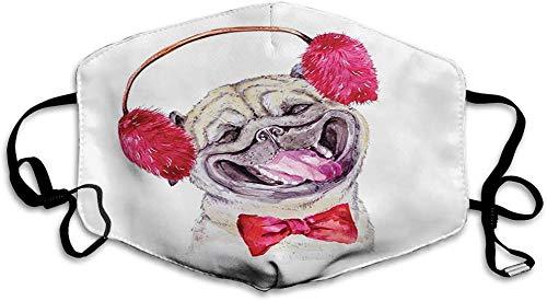 Anti Vervuiling Anti-Stof Mond Masker Verstelbare Oorlus Gezichtsmasker, Aquarel Tekening van Hond met Harige Winter Koptelefoon en een Bow Tie Gelukkig Leuke Dier