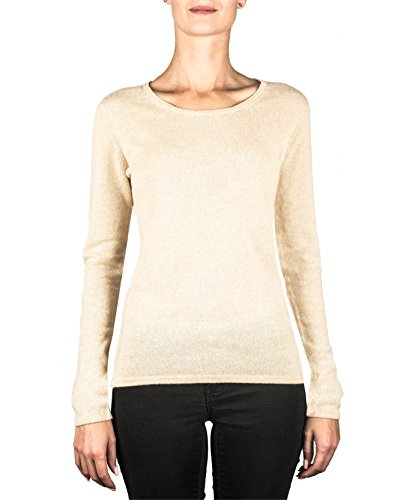 CASH-MERE.CH 100% Kaschmir Damen Pullover | Sweater Rundhalsausschnitt 2-fädig (Beige/Camel, XXL)