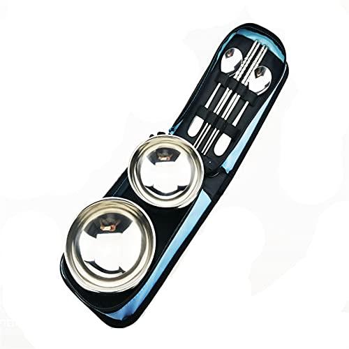 Vajilla portátil 6 piezas portátiles de acero inoxidable viaje camping utensilios al aire libre cubiertos conjunto de tazón reutilizables para 2 personas