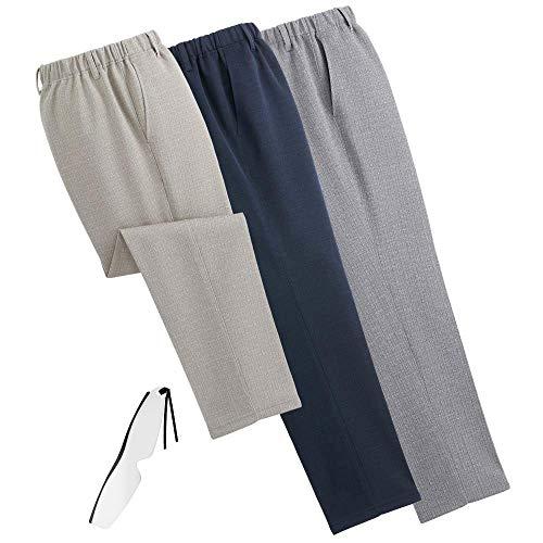 日本製紳士杢調さらさらパンツ(同サイズ3色組)1035 しおり型ルーペ付き (股下60cm 3L)