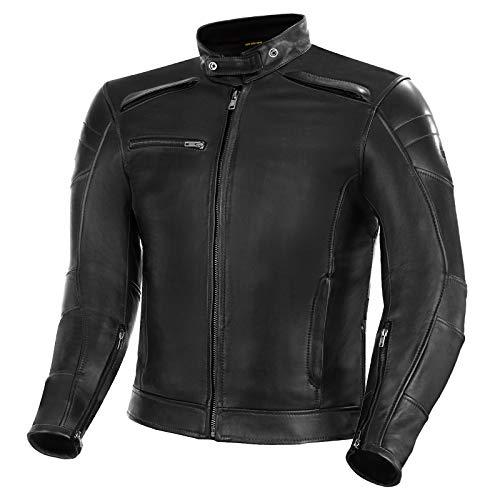 SHIMA BLAKE JACKET BLACK, Klassische Vintage Motorrad Herrenjacke mit Protektoren (Schwarz, XL)