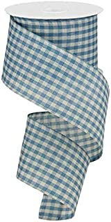 Primitive Gingham Check Wired Edge Ribbon, 10 Yards (Farmhouse Blue, Ivory, 2.5