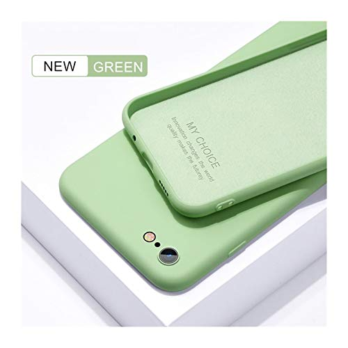 PSWK Funda suave delgada para iPhone 7 8 6 6S PLUS 4 5 SE2 Cubierta de silicona líquida original CUCHE CUCHA CAPA PARA IPHONE X XS 11 12 PRO MAX XR ( Color : Green , Material : For iPhone 8 Plus )