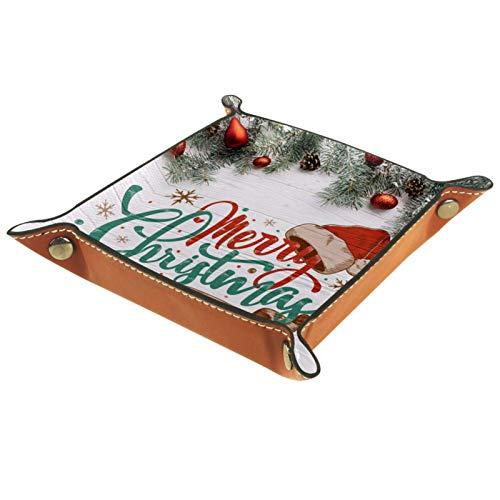 AITAI Bandeja de valet de piel vegana organizador de mesita de noche para escritorio, plato de almacenamiento de madera con fondo navideño