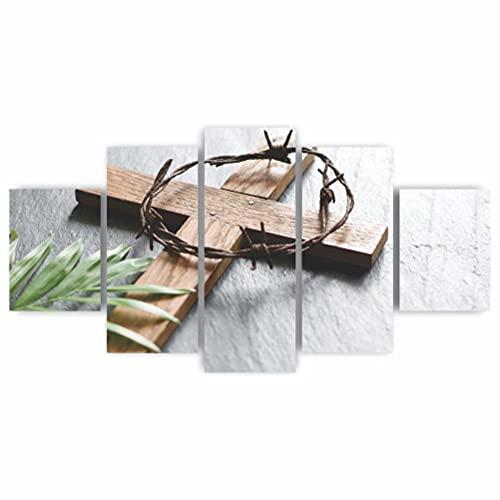 Quadros Decorativos Religioso Ramos e Cruz Jesus Cristo Mosaico MDF
