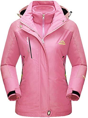 Tacvasen, Fleecejacke für Damen, 3 in 1, wasserdicht, Outdoor, Ski, Snowboard, Mantel Gr. XXL, rose