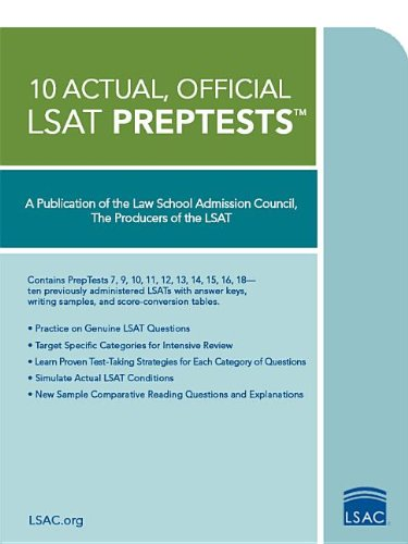 Download 10 Actual, Official LSAT PrepTests: (PrepTests 7,9,10,11,12,13,14,15,16,18) (LSAT Series) 0979305047