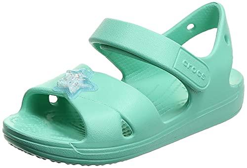 Crocs Unisex - Bambini Classic Cross Strap Charm Sandal, Pistachio, 30-31
