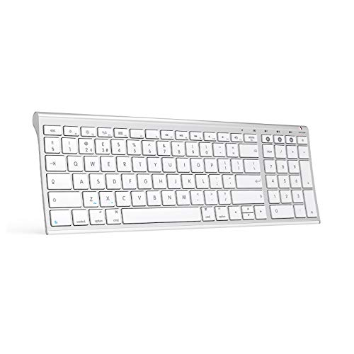 Jelly Comb Wireless Bluetooth Keyboard, Rechargeable Keyboard Qwerty UK Layout for iPad, MacBook, iPhone, Mac OS X,iOS, Apple OS, White Silver