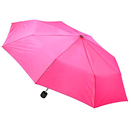 "Totes Umbrella Mini Compact For Kids Adults -- 42"" Coverage, Manual Open with Clip (Backpack, Purse, Stroller Size) (Pink)"