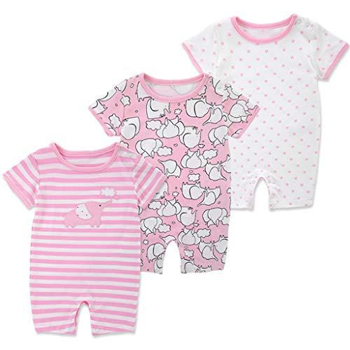 Bebé Manga Corta Mameluco 3 Paquetes, Mono de Verano Niños Niñas Pijama Algodón Infantil Mono 12-24 Meses