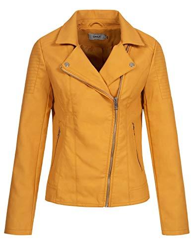 ONLY Damen Kunstleder-Jacke Melanie Biker mit Kragen 15191828 golden apricot 36