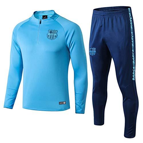 Uniforme De Entrenamiento De La Chaqueta Azul De La Ropa Deportiva De Manga Larga del Club De Fútbol De Los Hombres De Francia Europea (Top + Pantalones) -POL-B1222(Color:Azul,Size:Extragrande)