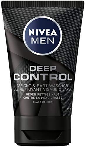 NIVEA MEN Deep Control Gesicht & Bart Waschgel im 2er Pack (2 x 100 ml), Reinigungsgel mit Black Carbon, erfrischende Gesichtsreinigung
