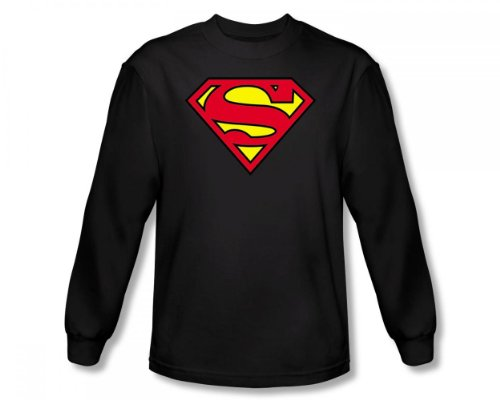 Superman - - Adulte Classic Logo manches longues T-shirt In Black, XXX-Large, Black