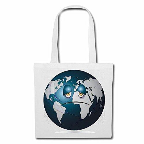 Tasche Umhängetasche Erde Planet Smiley ERDBALL GLOBUS NASA Weltraum Astronaut Roboter Einkaufstasche Schulbeutel Turnbeutel in Weiß