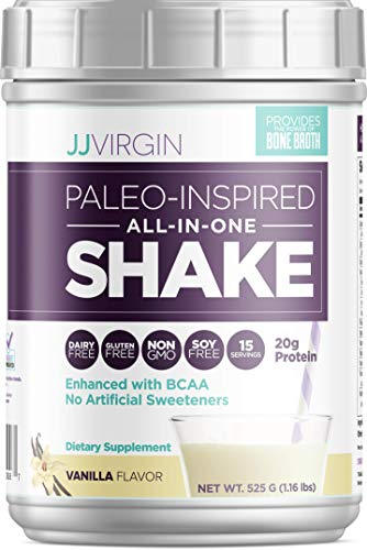 JJ Virgin Vanilla All-in-One Shake - Paleo-Inspired & Keto-Friendly Bone Broth Protein Powder - Healthy Breakfast Shake Supports Lasting Energy with 20 Grams of Protein (15 Servings, 1.16 Pounds)