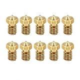 KKmoon 10pcs / lot V6 Boquilla de acero inoxidable 1.75mm / boquillas de latón 0.2 0.3 0.4 0.5 0.6mm para piezas de impresora 3D