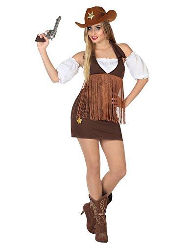 Atosa-26551 Cowgirl Disfraz Vaquera, color marrón, XL (26551)