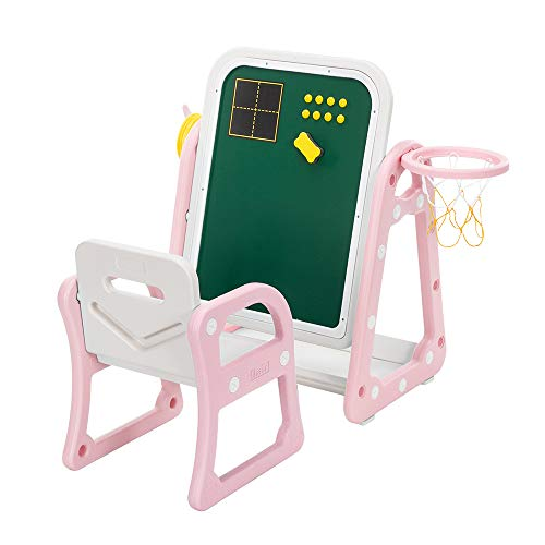 Youareking Plastic Sturdy Strong Load-Bearing Capacity Children's Table and Chair Drawing Board Set, with Shooting Ring 1 Table and 1 Chair, Play Games Creating Arts Enjoying Meals Use
