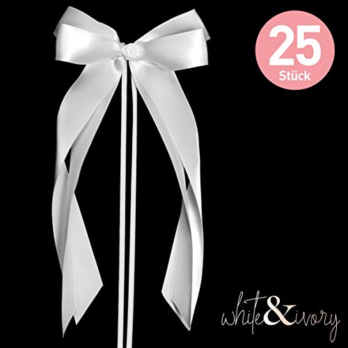 25 Autoschleifen Hochzeit Antennenschleifen | weiß/reinweiß | doppelt handgebunden mit Rose | hochwertiges Satin | Autoschmuck | Deko Schleife