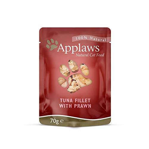 Applaws 100% Natural Wet Cat Food, Tuna Fillet With Pacific Prawn, 70g (Pack of 12)