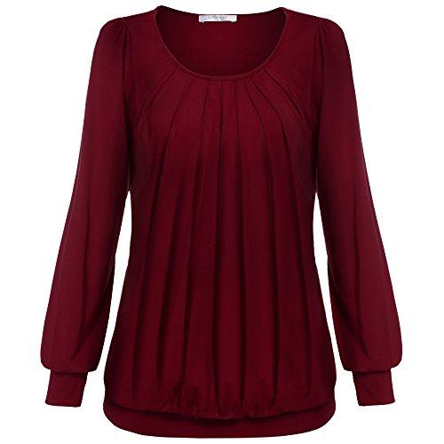 Meaneor Damen Langarmshirt Rundhals Bluse Langarm Tunika Stretch Shirt Falten Shirt
