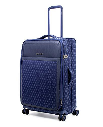 DKNY Signature Softside Spinner Luggage with TSA Lock, Indigo, 25 Inch