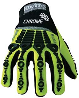 HexArmor 4026-9 Chrome Series Cut 5 Impact Hi-Vis SuperFabric Cut Resistant Gloves with Synthetic Leather Palm and Back of Hand, Size 9, Black/Hi-Vis Green