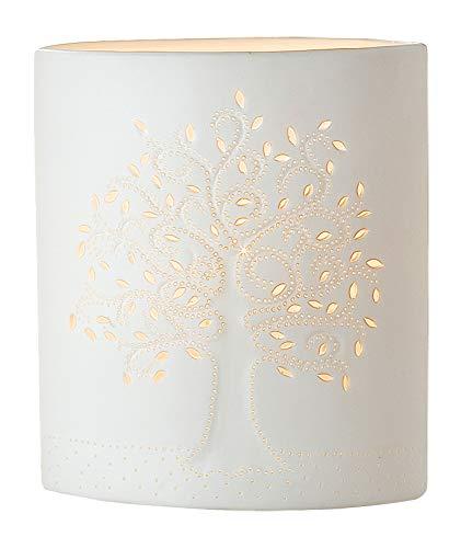 GILDE Lampe Lebensbaum - aus Porzellan mit Lochmuster im Prickellook H 20 cm