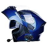 Casques de Moto Intégrés Bluetooth Casque Moto Modulable,Bluetooth Casque Moto Modulable,Casque de Scooter Intégral Homme et Femme,Pour Adulte,Homologué ECE E,XXXL=63CM