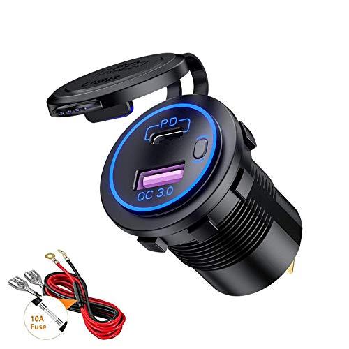 Thlevel Tipo C PD y QC3.0 Toma USB Coche 12V / 24V Cargador de Coche Impermeable con Interruptor y LED Indicador para Coches, Motos, Vehículos Recreativos, Camiones, Barcos