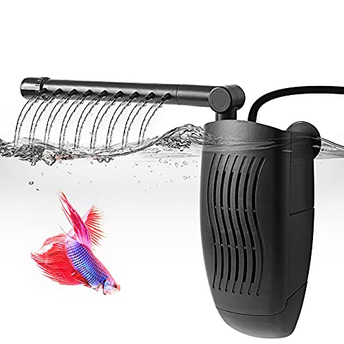 FEDOUR Adjustable Aquarium Internal Filter, Submersible Filter with Spray Bar, Water Pump for 1-20 Gallon Fish and Turtle Tank
