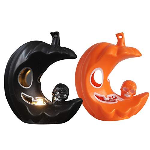 Halloween Pumpkin Lights, Moon Shape Creative Led Lights, New Candle Lights, Home Desktop Decorations Outdoor Holders (10 Packs/Black and Orange)