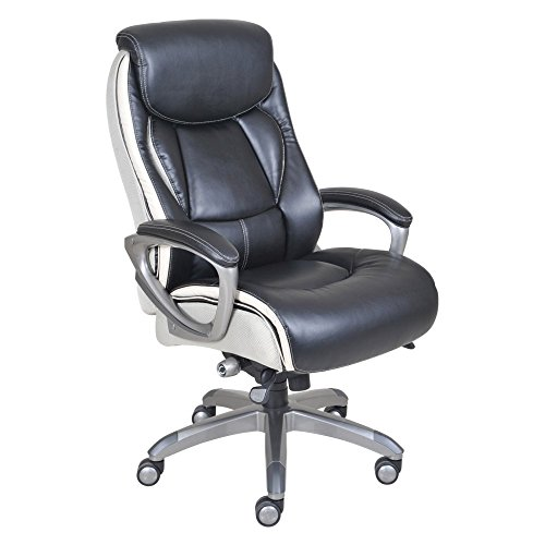Serta Executive Office Chair with Smart Layers Technology | Leather and Mesh Ergonomic with Contoured Lumbar and ComfortCoils | Black & White