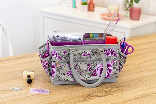 Crafters Companion CC-STOR-DELTOTE Deluxe Tote Case-Floral Crafting Storage Bag-Grey & Purple, One Size |