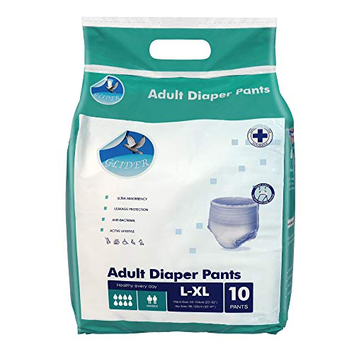 Glider Adult Diaper Pull Ups LARGE-XL - Pant Style (Count 10), (35-47 inch, 90-120 cm)